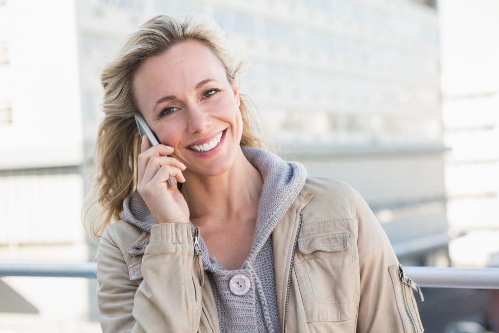 customer talking on the phone