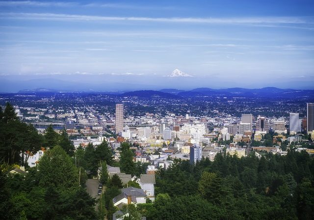 portland cityscape with many homes that could be sold for cash
